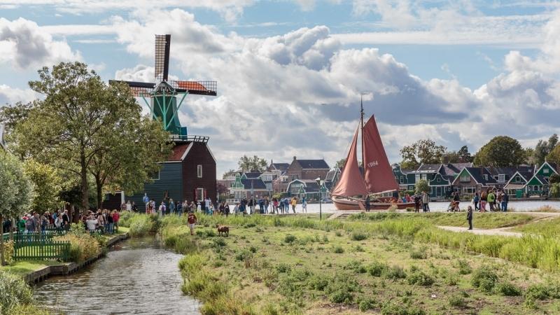 Os moinhos de vento na Holanda em Zaanse Schans